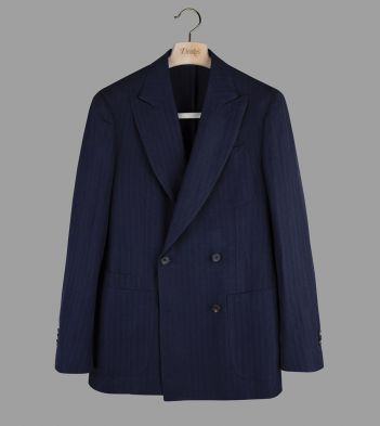 Aimé Leon Dore for Drake's Navy Herringbone Wool-Linen Double-Breasted Jacket