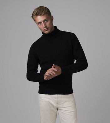 Black Lambswool Submariner Roll Neck Jumper