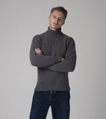 Dark Grey Lambswool Submariner Roll Neck Jumper