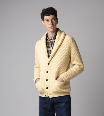 Pale Yellow Lambswool Shawl Collar Cardigan