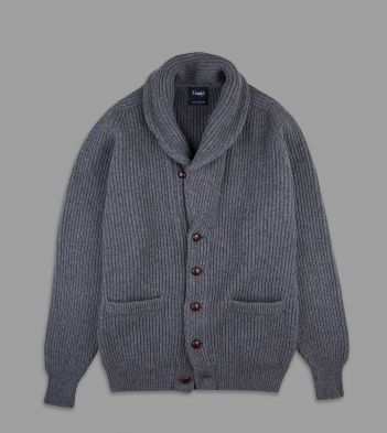 Grey Lambswool Shawl Collar Cardigan