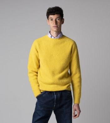 Yellow Brushed Shetland Wool Crew Neck Jumper