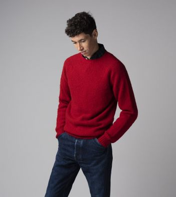 Red Brushed Shetland Wool Crew Neck Jumper