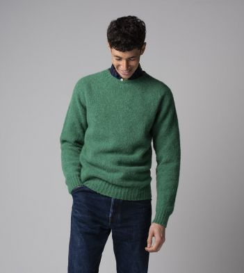 Green Brushed Shetland Wool Crew Neck Jumper