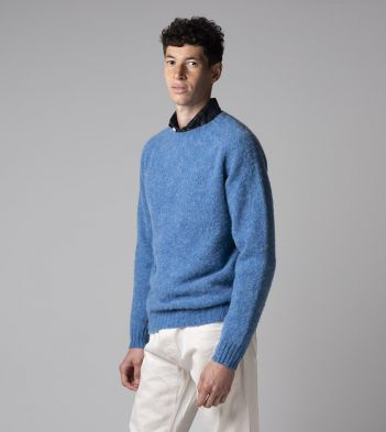 Blue Brushed Shetland Wool Crew Neck Jumper
