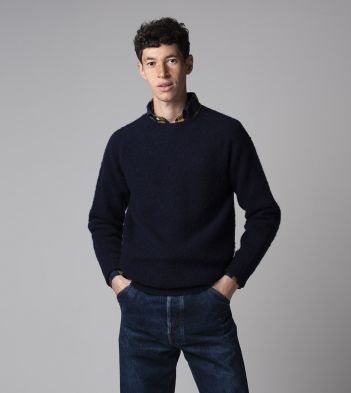 Navy Brushed Shetland Wool Crew Neck Jumper