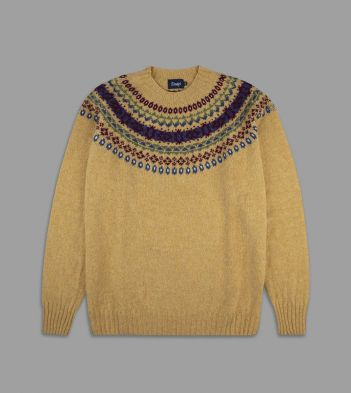 Aimé Leon Dore for Drake's Yellow Lambswool Fairisle Yoke Jumper