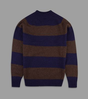 Aimé Leon Dore for Drake's Brown and Purple Block Stripe Wool Crew Neck Jumper