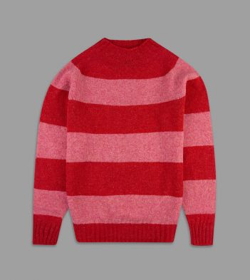 Aimé Leon Dore for Drake's Red and Pink Block Stripe Wool Crew Neck Jumper