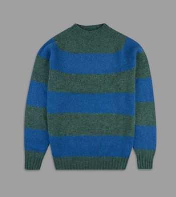 Aimé Leon Dore for Drake's Green and Blue Block Stripe Wool Crew Neck Jumper