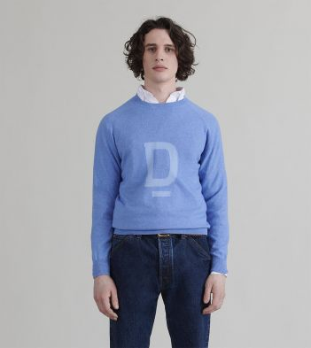 Sky Blue 'D' Emblem Cotton-Cashmere Jumper