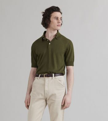 Khaki Linen-Cotton Knitted Polo Shirt
