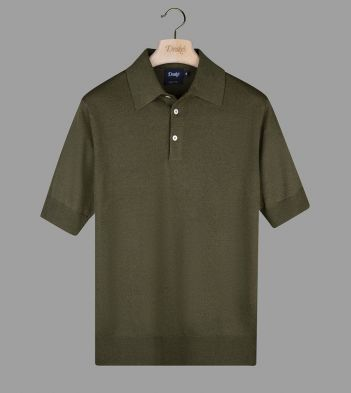 Olive Linen-Cotton Knitted Polo Shirt