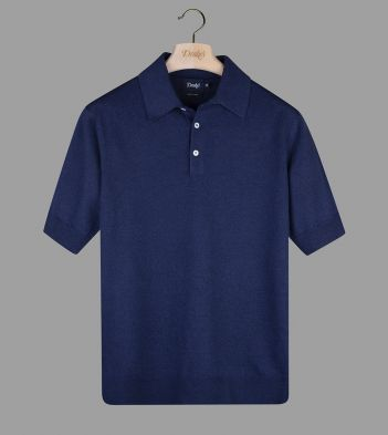 Navy Linen-Cotton Knitted Polo Shirt