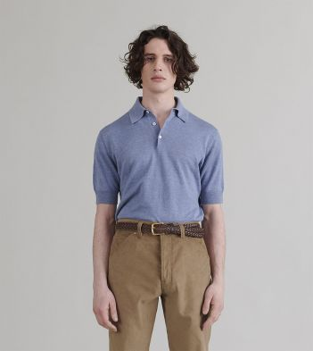 Pale Blue Linen-Cotton Knitted Polo Shirt