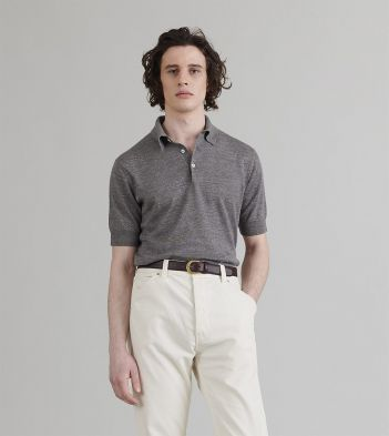 Grey Linen-Cotton Knitted Polo Shirt