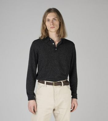 Charcoal Knitted Silk Long-Sleeve Polo Shirt