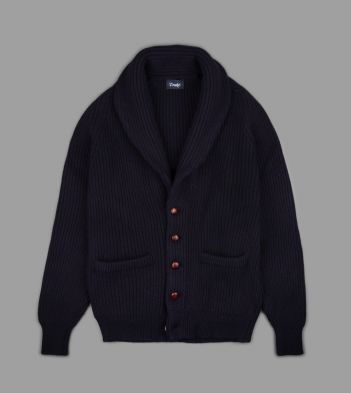 Navy Four Ply Cashmere Shawl Collar Cardigan