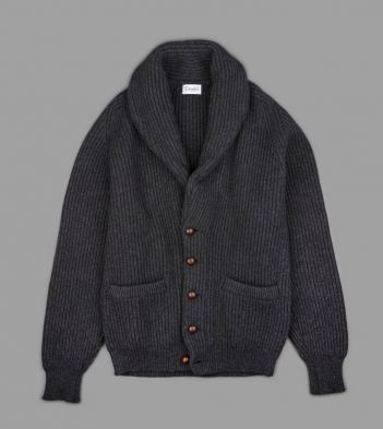 Charcoal Four Ply Cashmere Shawl Collar Cardigan