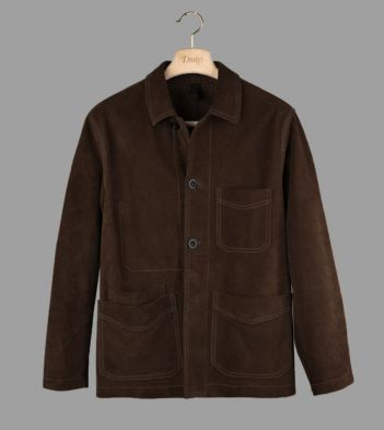 Chocolate Brown Heavyweight Suede Five-Pocket Chore Jacket