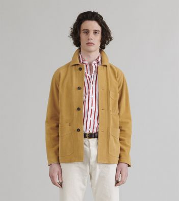 Pale Yellow Heavyweight Suede Five-Pocket Chore Jacket