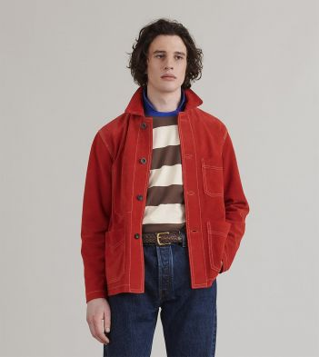 Bright Red Heavyweight Suede Five-Pocket Chore Jacket