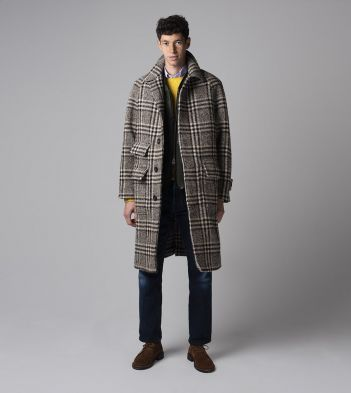 Taupe Glen Check Casentino Wool Blend Raglan Sleeve Overcoat