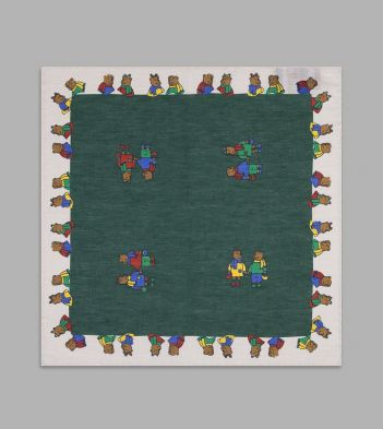 Green and Ecru Teddy Bear Print Linen-Cotton Pocket Square