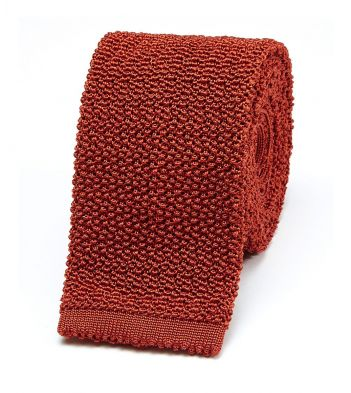 Rust Knitted Silk Solid Colour Tie