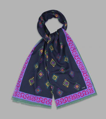 Navy and Purple Border Diamond Printed Wool Scarf