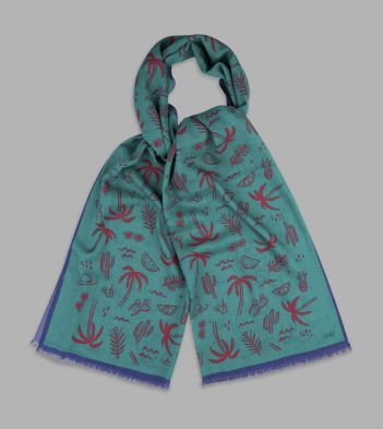 Teal, Red and Blue Summer Print Wool Scarf