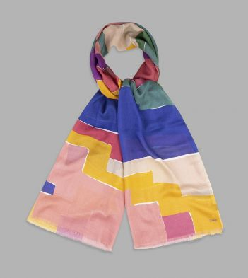 Blue, Pink and Yellow  Blocky Kilim Print Wool-Silk Scarf