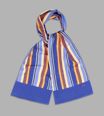 Blue, Red and Yellow Stripe Silk Scarf