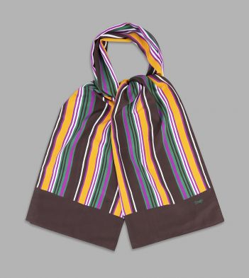 Brown, Yellow and Green Stripe Silk Scarf