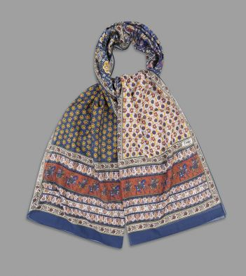 Ecru and Terracotta Patchwork Mughal Rider Print Cotton-Silk Scarf