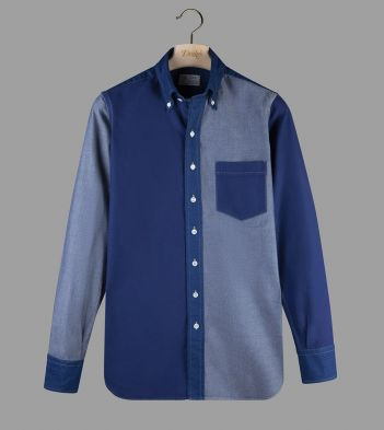 Aimé Leon Dore for Drake's Patchwork Denim Button-Down Shirt