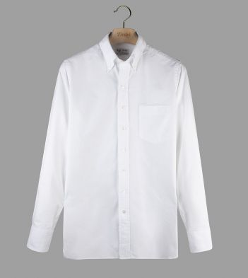 Aimé Leon Dore for Drake's White Cotton Twill Button-Down Shirt