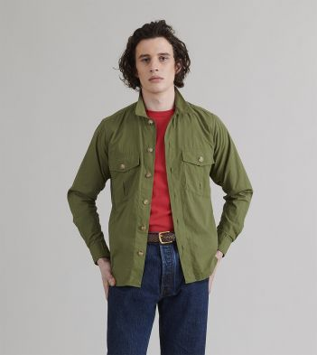 Olive Cotton Ripstop Two-Pocket Overshirt