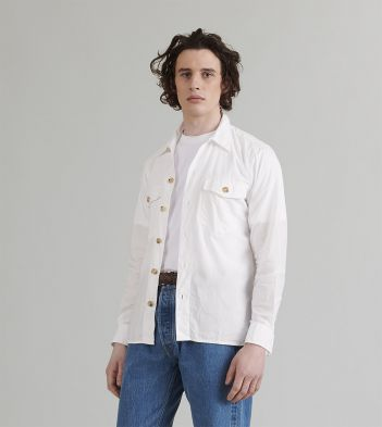White Cotton Ripstop Two-Pocket Overshirt