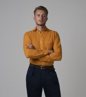 Yellow Japanese Linen Spread Collar Shirt
