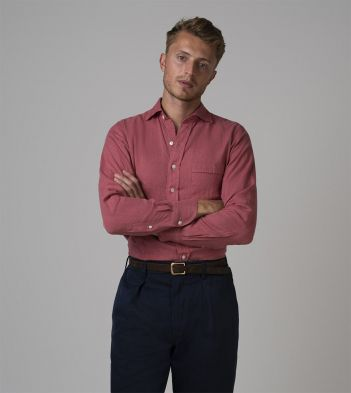 Pink Japanese Linen Spread Collar Shirt