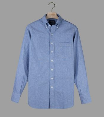 Light Blue Cotton Flannel Button-Down Shirt