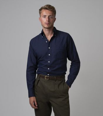Navy Cotton Flannel Button-Down Shirt
