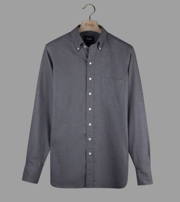 Dark Grey Cotton Flannel Button-Down Shirt