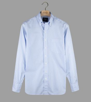 Sky Blue Narrow Stripe Cotton Poplin Button-Down Shirt