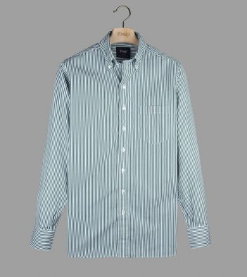 Green Narrow Stripe Cotton Poplin Button-Down Shirt