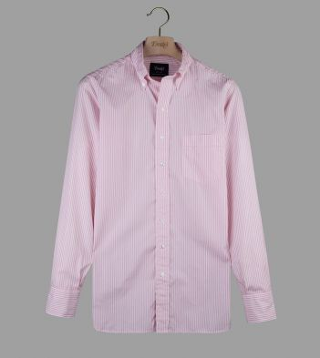 Pink Narrow Stripe Cotton Poplin Button-Down Shirt