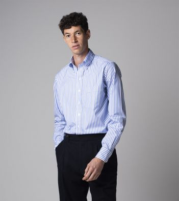 Blue Bengal Stripe Cotton Poplin Button-Down Shirt