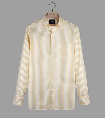 Yellow Bengal Stripe Cotton Poplin Button-Down Shirt
