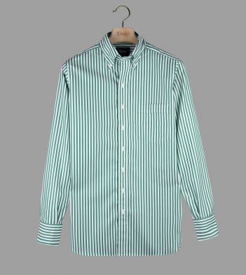 Green Bengal Stripe Cotton Poplin Button-Down Shirt